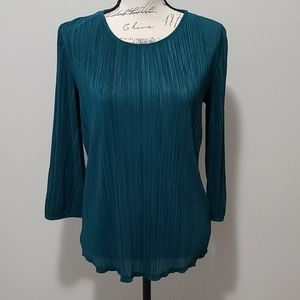 Adrianna Pappell Pleated 3/4 Sleeve Knitted Top S